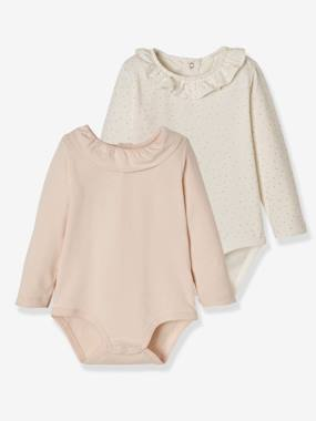 Baby-T-shirts & Roll Neck T-Shirts-Thermal Underwear-Pack of 2 Bodysuits for Babies, Peter Pan Collar, Long Sleeves