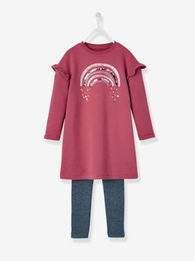 Vertbaudet Collection-Girls-Dresses-Sequinned dress + Leggings Outfit for Girls