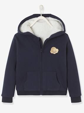 Vertbaudet Collection-Girls-Cardigans, Jumpers & Sweatshirts-Hooded Jacket with Sherpa Lining for Girls
