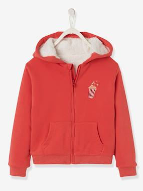 Girls-Cardigans, Jumpers & Sweatshirts-Sweatshirts & Hoodies-Hooded Jacket with Sherpa Lining for Girls