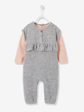 Baby-Dungarees & All-in-ones-Jumpsuit & Long-Sleeved T-Shirt Ensemble for Baby Girls