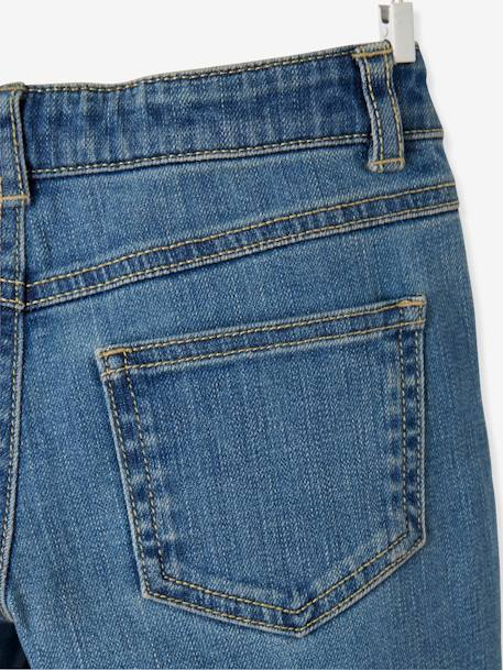 MEDIUM Hip, Straight Leg MorphologiK Jeans for Girls BLUE MEDIUM SOLID - vertbaudet enfant