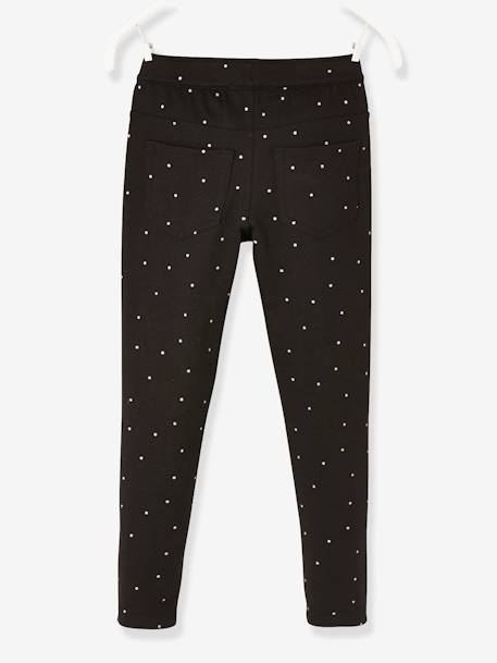 Leggings with Iridescent Hearts, for Girls BLACK DARK SOLID+BLUE DARK ALL OVER PRINTED+PINK LIGHT ALL OVER PRINTED - vertbaudet enfant