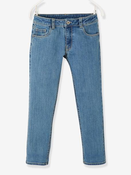 Jean droit fille morphologique tour de hanches LARGE DENIM STONE - vertbaudet enfant