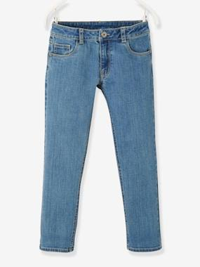 Vertbaudet Collection-Girls-Trousers-WIDE Hip, Straight Leg MorphologiK Jeans for Girls