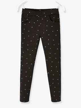 Girls-Leggings-Leggings with Iridescent Hearts, for Girls