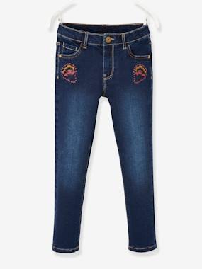 Girls-Jeans-Slim Leg Jeans with Embroidery on the Pockets, for Girls