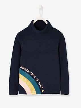 Girls-Tops-Roll Neck Tops-Polo Neck Top with Iridescent Rainbow for Girls