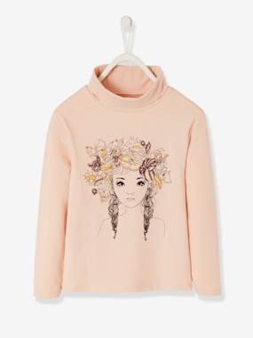 Vertbaudet Collection-Girls-Tops-Polo Neck Top with Embroideries & Sequins for Girls
