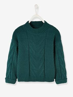 Vertbaudet Collection-Girls-Cardigans, Jumpers & Sweatshirts-Jumper in Chenille & Cable Knit, for Girls