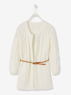 Girls-Cardigans, Jumpers & Sweatshirts-Cardigans-Long Cardigan in Cable Knit & Braided Belt, for Girls