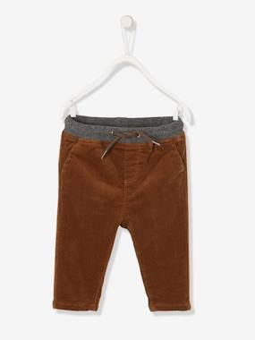 Baby-Trousers & Jeans-Corduroy Trousers for Baby Boys, Lined
