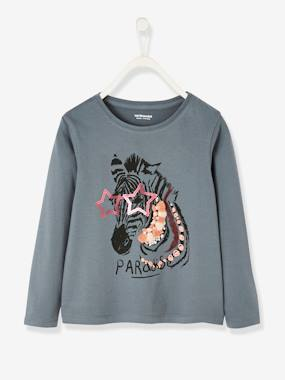 Vertbaudet Collection-Girls-Tops-Zebra Top, with Sequins & Embroideries, for Girls