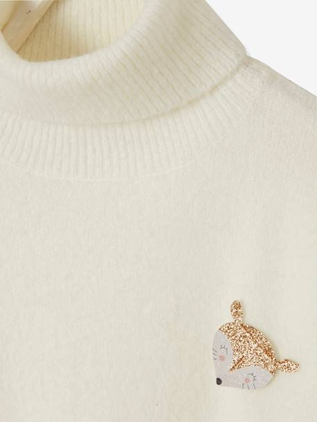 Polo-Neck Jumper with Glittery Fox Badge for Girls PINK LIGHT SOLID+WHITE LIGHT SOLID - vertbaudet enfant