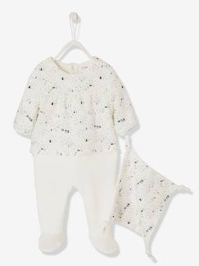 Baby-Pyjamas-Pyjama-Blouse in Velour & Voile + Comforter for Newborn Babies