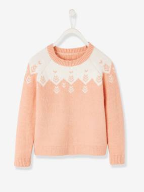 Girls-Cardigans, Jumpers & Sweatshirts-Jumpers-Jacquard Knit Jumper, for Girls