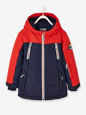 Vertbaudet Collection-Boys-Ski Parka Jacket with Hood, Polar Fleece Lining, Reflective Details, for Boys