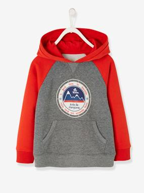 Boys-Cardigans, Jumpers & Sweatshirts-Hooded Sweatshirt with Ski Motif for Boys