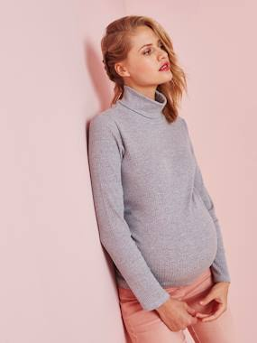 Maternity-T-shirts & Tops-Maternity Polo-Neck Top