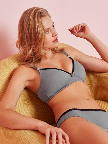 Wire-free Nursing Bra BLUE DARK SOLID+GREY MEDIUM SOLID+RED DARK SOLID - vertbaudet enfant