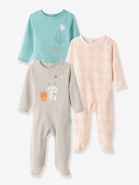 Baby-Pyjamas-Pack of 3 Baby Printed Pyjamas in Pure Cotton, Back Press-Studs