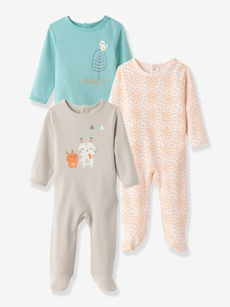 Pack of 3 Baby Printed Pyjamas in Pure Cotton, Back Press-Studs Pale grey - vertbaudet enfant