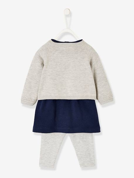 Dress + Cardigan + Leggings Outfit, for Newborn Babies BLUE DARK SOLID+PINK MEDIUM SOLID+WHITE MEDIUM SOLID - vertbaudet enfant
