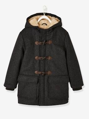 Vertbaudet Collection-Boys-Sherpa-Lined Duffle Coat, with Hood, for Boys