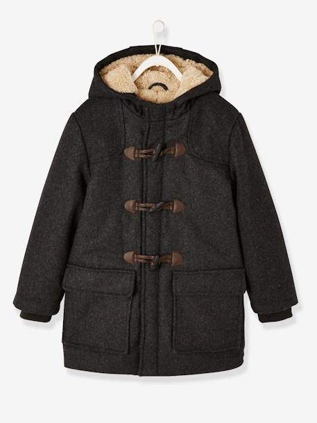 Sherpa-Lined Duffle Coat, with Hood, for Boys BLUE DARK SOLID WITH DESIGN+GREY DARK MIXED COLOR - vertbaudet enfant