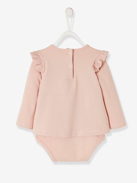 2-in-1 Bodysuit for Newborn Babies PINK LIGHT SOLID WITH DESIGN - vertbaudet enfant
