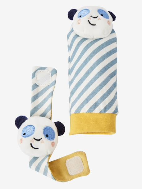 Panda Wrist Rattle & Footfinder BLUE MEDIUM SOLID WITH DESIGN - vertbaudet enfant