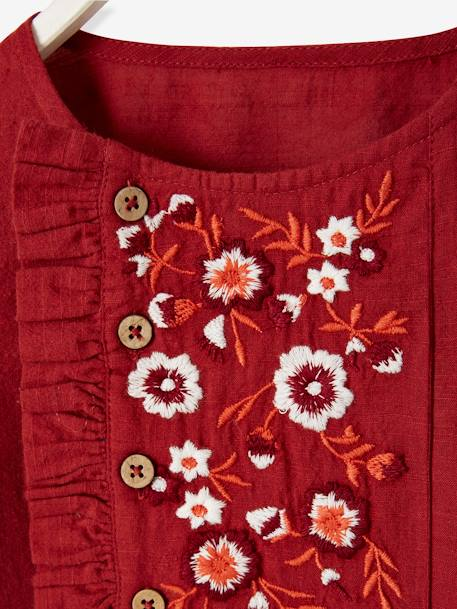 Blouse with Embroidered Flowers for Girls RED DARK SOLID WITH DESIGN - vertbaudet enfant