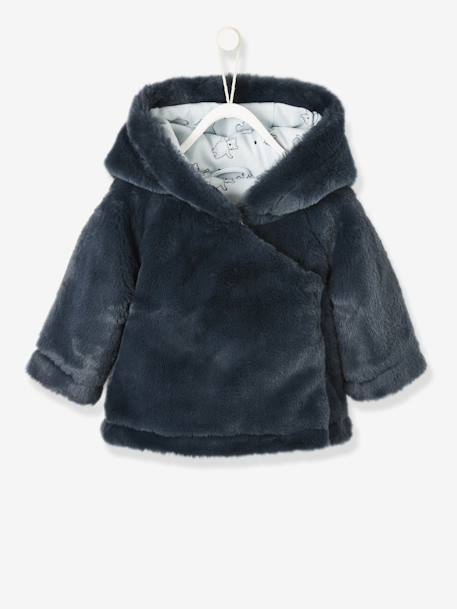 Faux Fur Jacket with Lining for Newborn Babies BLUE DARK SOLID WITH DESIGN+PINK LIGHT SOLID WITH DESIGN - vertbaudet enfant