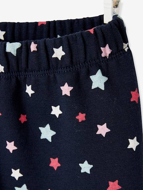 Polar Fleece Lined Leggings, Starry Motif, for Girls BLUE DARK SOLID WITH DESIGN - vertbaudet enfant