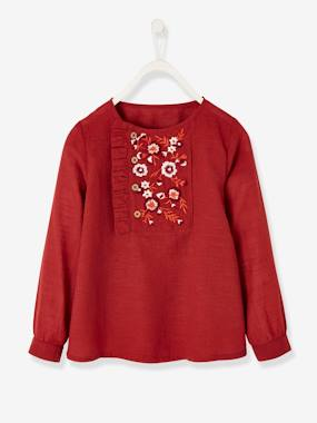 Girls-Blouses, Shirts & Tunics-Blouse with Embroidered Flowers for Girls