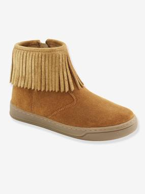 Shoes-Fringed Leather Boots for Girls