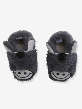 Shoes-Baby Footwear-Slippers & Booties-Faux Fur Pram Shoes for Baby Boys