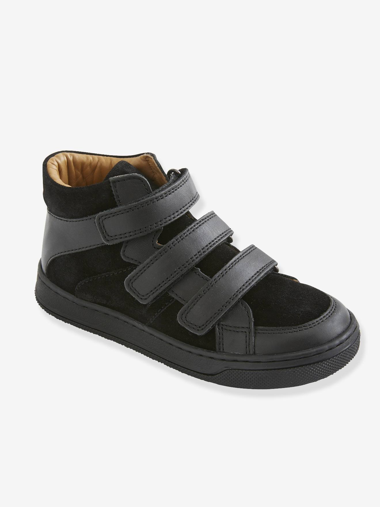Leather High Top Trainers with Touch