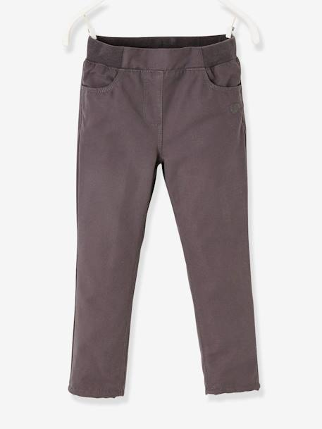 Indestructible Trousers Lined in Polar Fleece, for Girls GREY DARK SOLID+RED DARK SOLID - vertbaudet enfant
