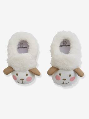Shoes-Baby Footwear-Slippers & Booties-Faux Fur Pram Shoes for Baby Girls