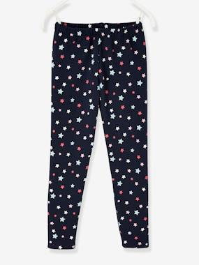 Girls-Leggings-Polar Fleece Lined Leggings, Starry Motif, for Girls