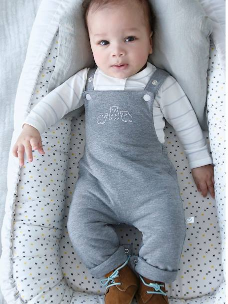 Long-sleeved Bodysuit & Dungarees Outfit for Newborns GREY MEDIUM MIXED COLOR - vertbaudet enfant