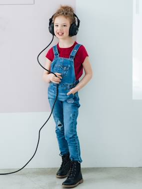 Girls-Dungarees & Playsuits-Embroidered Denim Dungarees, for Girls