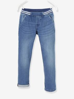 Girls-Trousers-Straight Leg Jeans, Iridescent Rib Knit Waistband