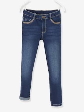 Girls-Jeans-Skinny Leg Jeans for Girls, with Embroidery on the Pockets