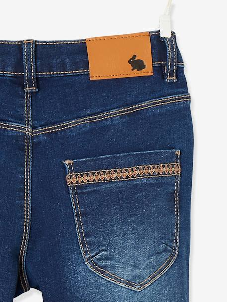 Skinny Leg Jeans for Girls, with Embroidery on the Pockets BLUE DARK SOLID - vertbaudet enfant