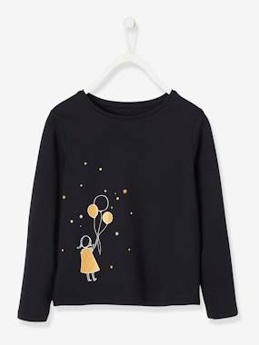 Vertbaudet Collection-Girls-Tops-Long-Sleeved Top with Iridescent Details for Girls
