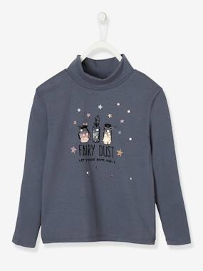 Girls-Tops-Roll Neck Tops-Polo Neck Top with Fairy Dust Motif in Sequins & Glitter, for Girls