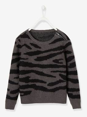 Girls-Cardigans, Jumpers & Sweatshirts-Jumpers-Jumper with Iridescent Tiger Motif, for Girls