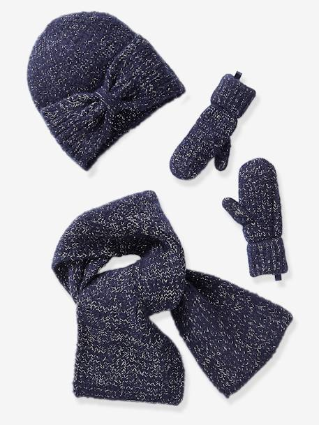 Set for Girls: Beanie with Bow + Scarf + Gloves in Shimmery Yarn BLUE DARK SOLID+PINK DARK SOLID - vertbaudet enfant